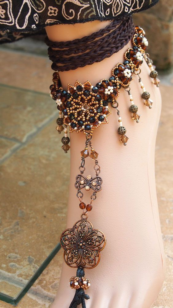 1001 Nights Foot Jewelry beaded anklet barefoot by DiasJewelryShop