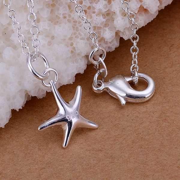 925 серебряные ювелирные изделия кулон изысканные мода милый маленький морские звезды ожерелье подвески Высокое качество CP056