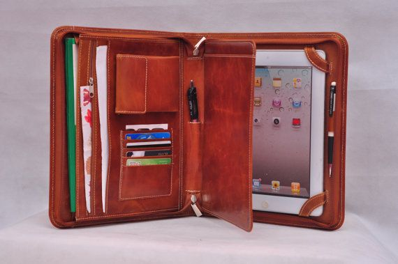 Toplevel Multifunctional leather iPad case as by HomemadeLeather