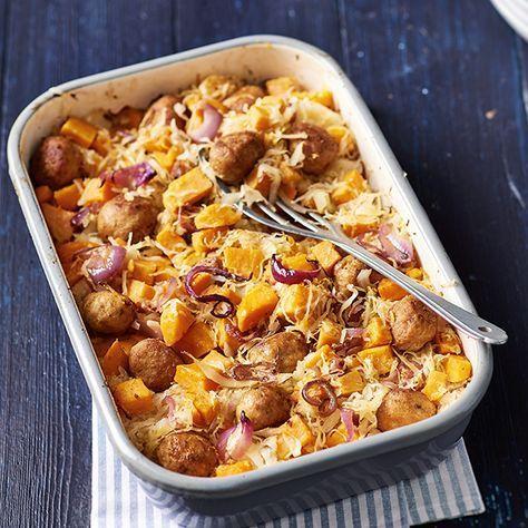 Zoete aardappel met zuurkool en kipgehaktballetjes
