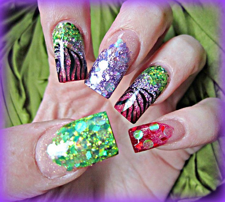 Muti colour zebra acrylic nails