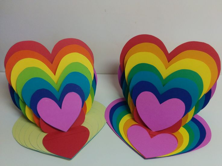 Art and Craft: How to make Rainbow Heart Card/ Heart Easel Card