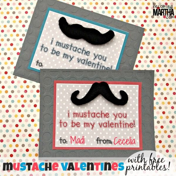 Stick-on Mustache Valentines {Free Printable} - Becoming Martha