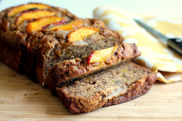 Low-fat Cinnamon Peach Banana Bread {made with greek yogurt} - made this last night with necatrines instead of peaches. It was awesome! You can skip the sliced fruit on top, but the brown sugar sprinkle is a must for an awesome crust!