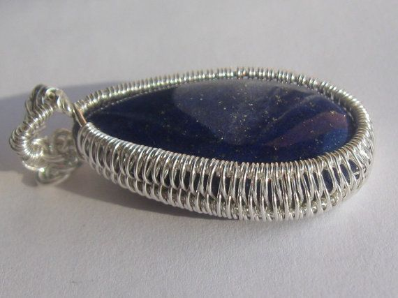 Lapis Lazuli Tear Pendant - Lapis Lazuli Cabochon Wire Wrapped in Sterling Silver