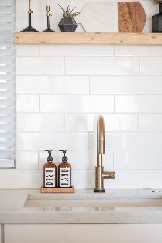 Handmade Wood Tray Maple Glass Soap Dispenser Kitchen Sink Decor Kitchen Soap Dispenser