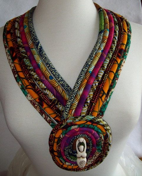 Ethnic African fabric necklace with horn goddess focal pendant  Hand crafted by Painted Threads  (Kwanzaa gift idea)