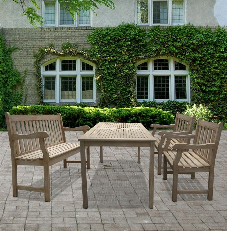 This outdoor Renaissance table, bench, and armchair dining set is constructed of acacia and finished in hand-scraped hardwood, thus unaffected by variations in weather. This handsome set will make the perfect dining area out of any patio or deck.