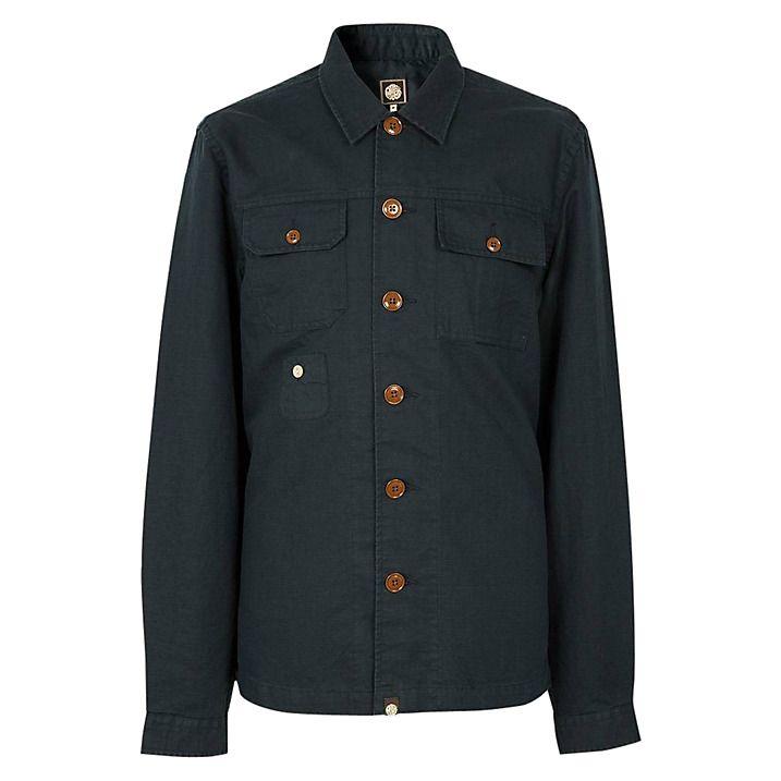 Buy Pretty Green Stamford Shirt, Navy, M Online at johnlewis.com