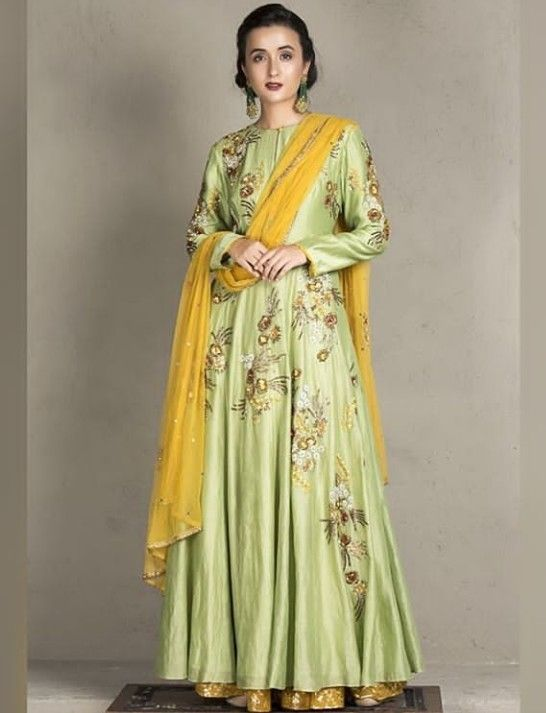 fe0bef6716 Beautiful Hand Embroidered Silk Anarkali Gown. Paired with net dupatta.  #Anarkali #Dress #joymitra