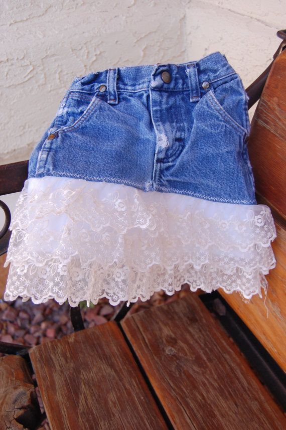 DIY lace blue jean skirt