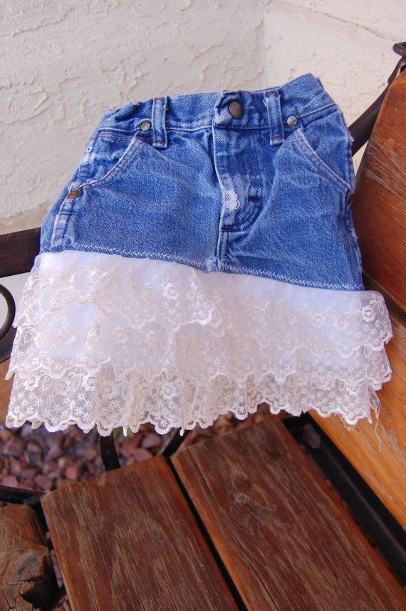 DIY lace blue jean skirt
