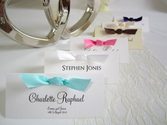 80 Personalised Wedding Place Name Cards With Satin Ribbon Table Guest Seating