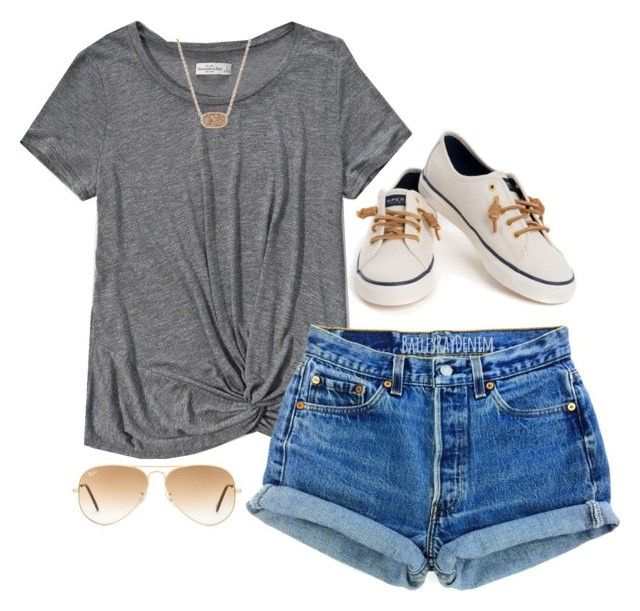 """cool for the summer"" by morganburleigh ❤ liked on Polyvore featuring Abercrombie & Fitch, Levi's, Sperry, Ray-Ban and Kendra Scott"