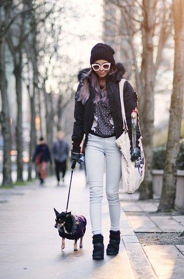 Get this look: http://lb.nu/look/7988632  More looks by Maria P: http://lb.nu/marialookingglass  Items in this look:  Black Beanie, Black Parka, Angeleye London Printed Chiffon Sweatshirt, Mango Pale Blue Skinny Jeans, Aliexpress White Sunglasses, Diesel Tote Bag, Aldo Black Sneaker Wedges   #casual #street #coldweather #parka #beanie #paleblue #prints #statementsunglasses