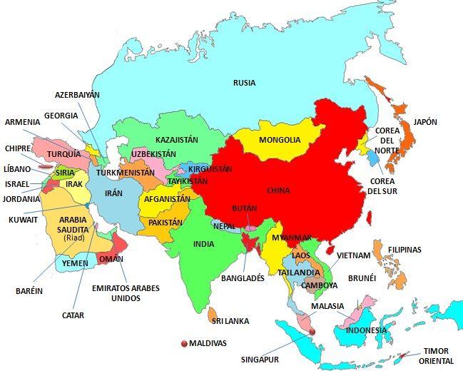 Mapa de Asia. Países asiáticos y euroasiaticos
