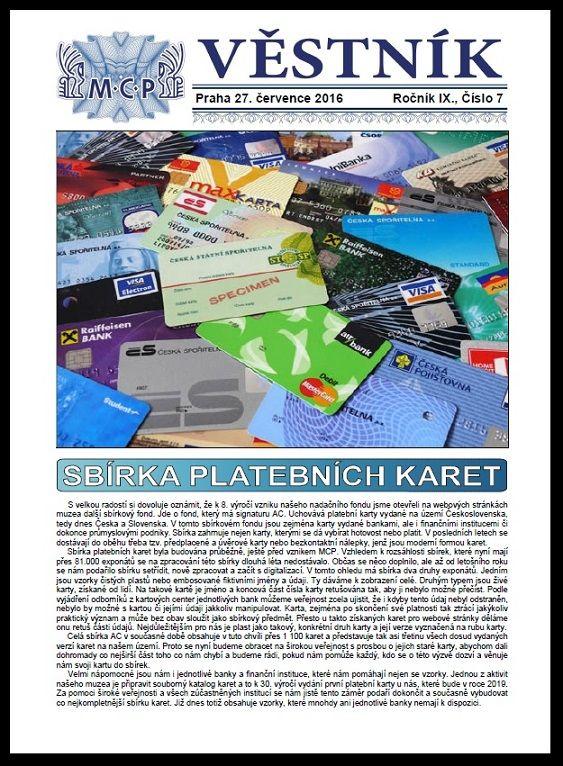 Věstník MCP 7/2016 (Sbírka platebních karet)