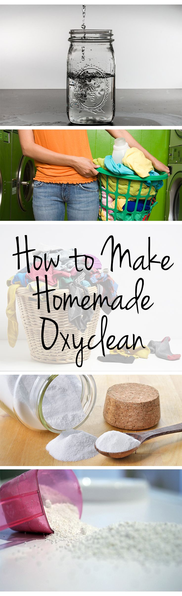 How to Make Homemade Oxyclean 1 c water, 1/2 c hydrogen peroxide, 1/2 c baking soda. Mix just before using.  May benefit by letting laundry soak in mixture.  See directions