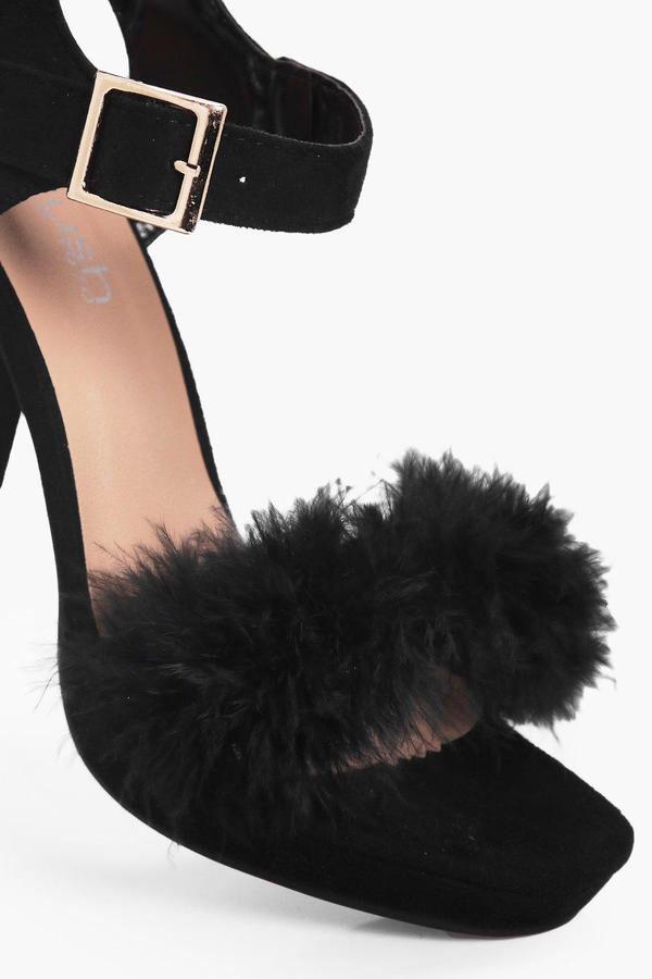 Lizzie Wide Fit Faux Fur Platform Heels black - FLUFFY!!!