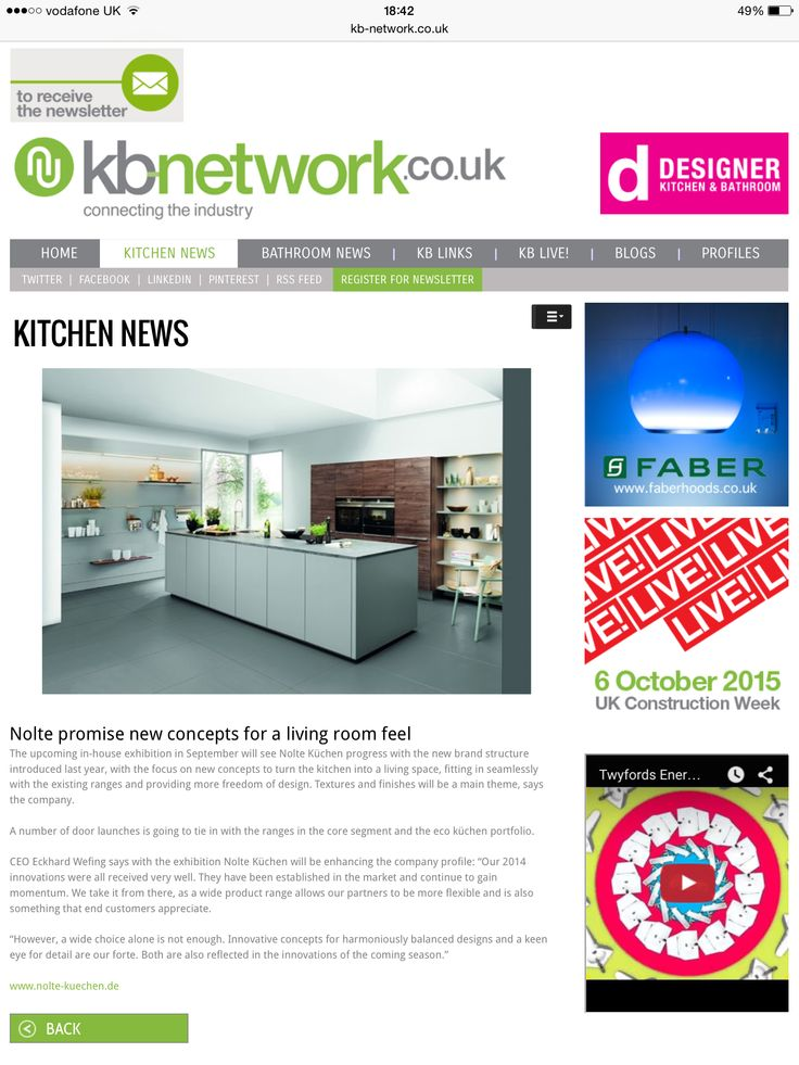 Kitchen news on KB Network -) Nolte Küchen Pinterest