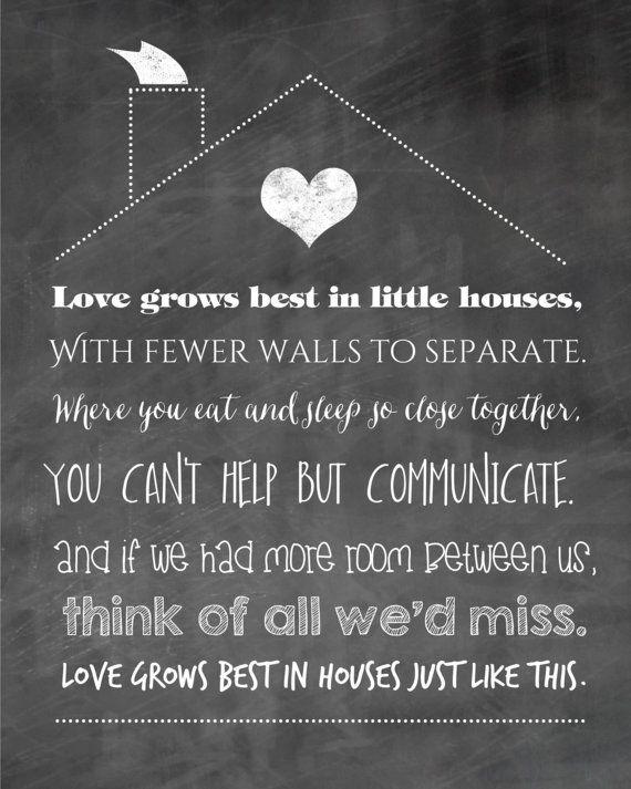 Love Grows Best in Little Houses Print - Chalkboard Family ...