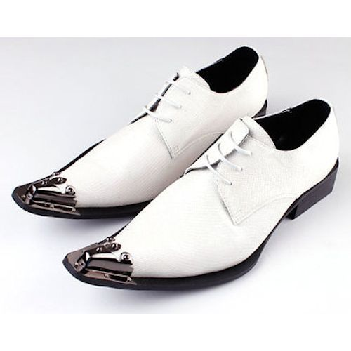 Ivory White Leather Pointy Lace Up Fashion Wedding Prom Dress Shoes