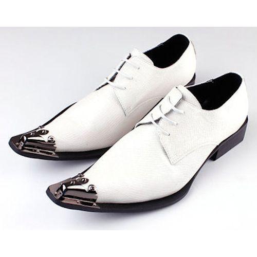 Ivory White Leather Pointy Lace Up Fashion Wedding Prom Dress Shoes