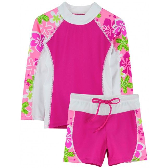 Girl's SHORELINE Set by TUGA in ROSITA. Long Sleeve Swim Shirt with Matching Swim Shorts for Great Coverage, Always Chemical Free Fabrics, Perfect for Sensitive Skin and UPF 50+ Rated, Maximum UV Sun Protection for Apparel!