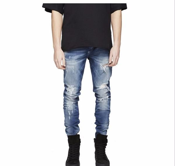 Stylish washed ripped jeans