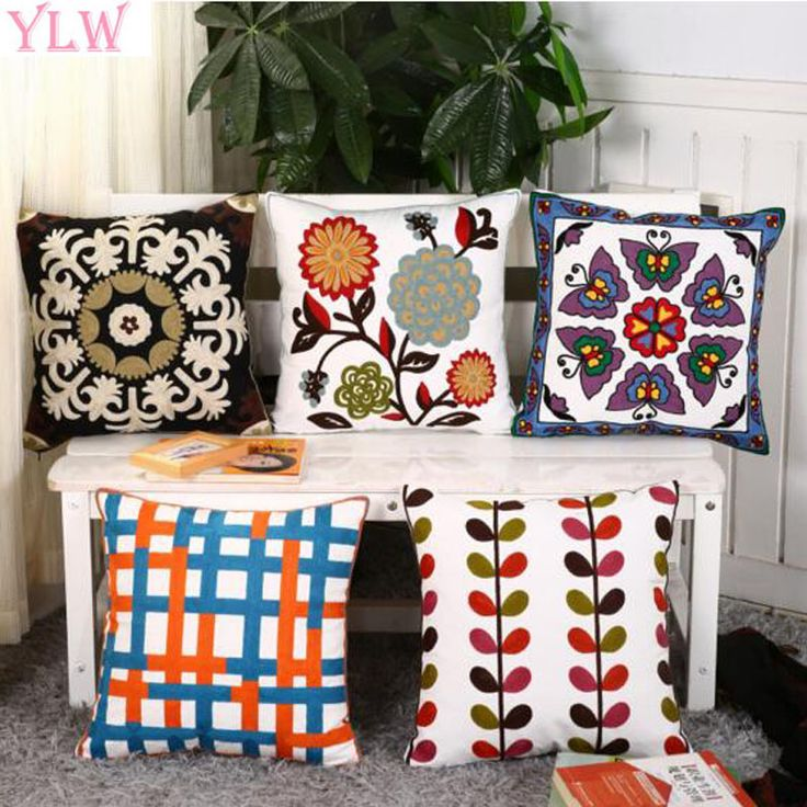 living room d?cor YLW Embroidery Flowers Butterfly Cushions Covers Embroidered Korean Style Floral Pillow Case Cotton Throw Pillow Cushion Cover ** AliExpress Affiliate's buyable pin. Details on product can be viewed on www.aliexpress.com by clicking the image