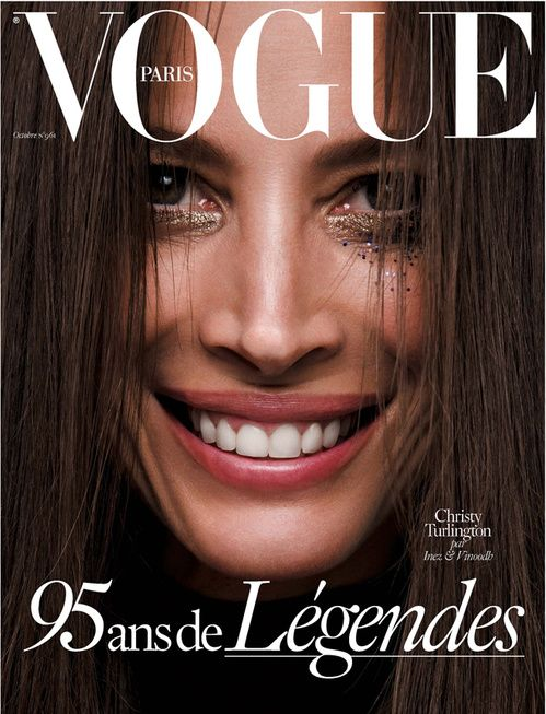 Christy Turlington by Inez & Vinoodh for Vogue Paris October 2015 95th Anniversary Issue cover
