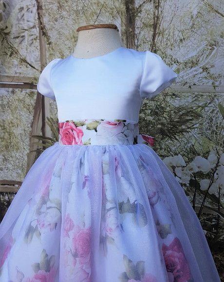 419635041 Lindo vestido Floral Branco e Pink - Busto acetinado tecido cetim lion -  Saia com tecido