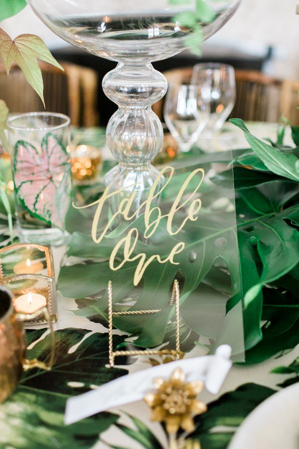 Tropical Styled Shoot with Lush Greenery and Gold Details