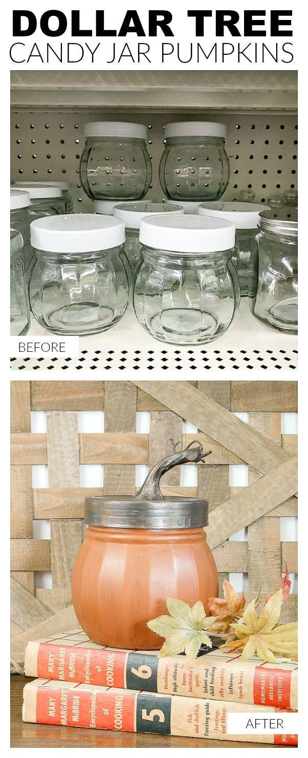 Easily turn Dollar Tree storage jars into perfectly painted pumpkins!