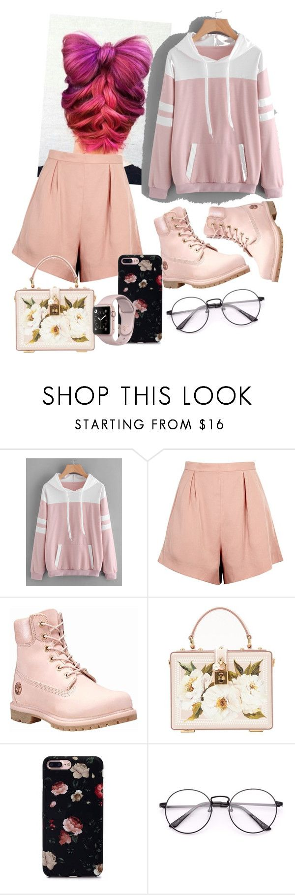 """""""pink over"""" by queenofquestions ❤ liked on Polyvore featuring Finders Keepers, Timberland and Dolce&Gabbana"""