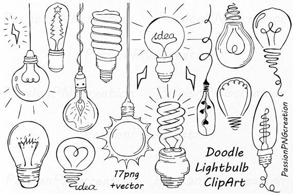 Doodle Light Bulb Clipart, hand drawn  light bulb clip art, digital clipart, PNG, EPS, AI, vector files, For Personal and Commercial Use