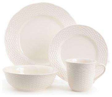 Red Vanilla Nantucket 16-piece White Dinner Set contemporary dinnerware sets