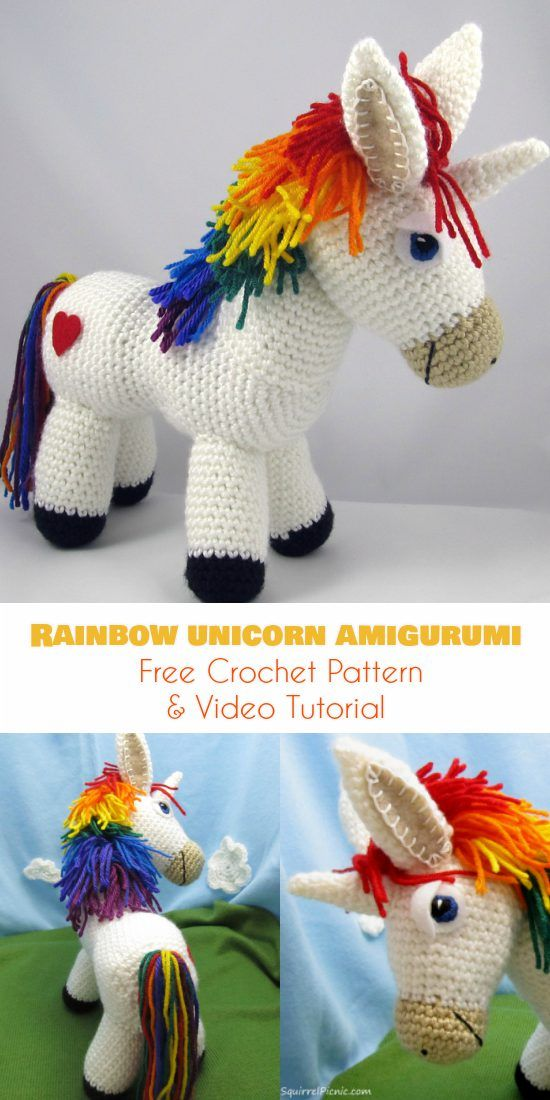 Rainbow Unicorn Amigurumi [Free Crochet Pattern and Video Tutorial] Follow us for ONLY FREE crocheting patterns for Amigurumi, Toys, Afghans and many more!