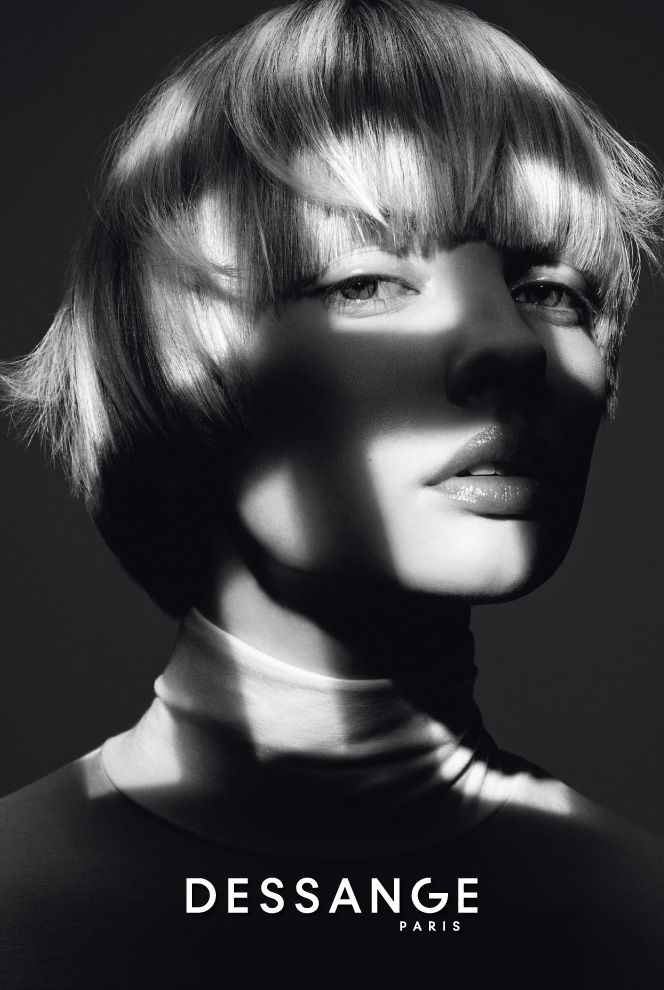 Unstructured bob: This bob with its bold lines is unstructured from beneath to give way to free movement on top. The slightly rounded bangs have a falsely imperfect look for a light, modern edge. #DESSANGE #Collection #FallWinter #LightOfShadows