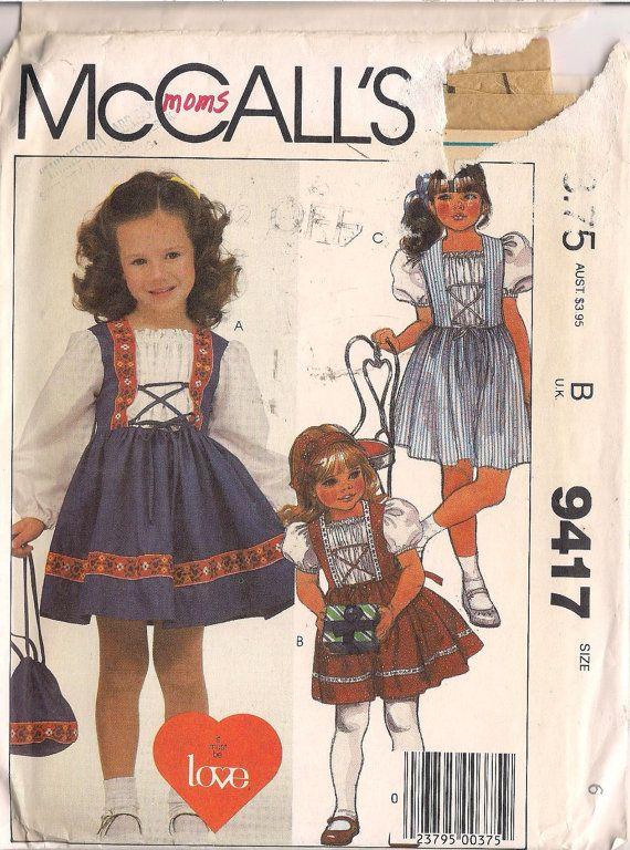 Mccalls 9417 Vintage 1980s Childrens Dirndl dress, purse, bag pattern Girls size 6