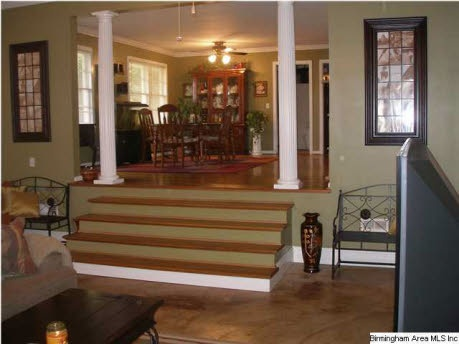 Love The Sunken Living Room With Stairs Leading To The