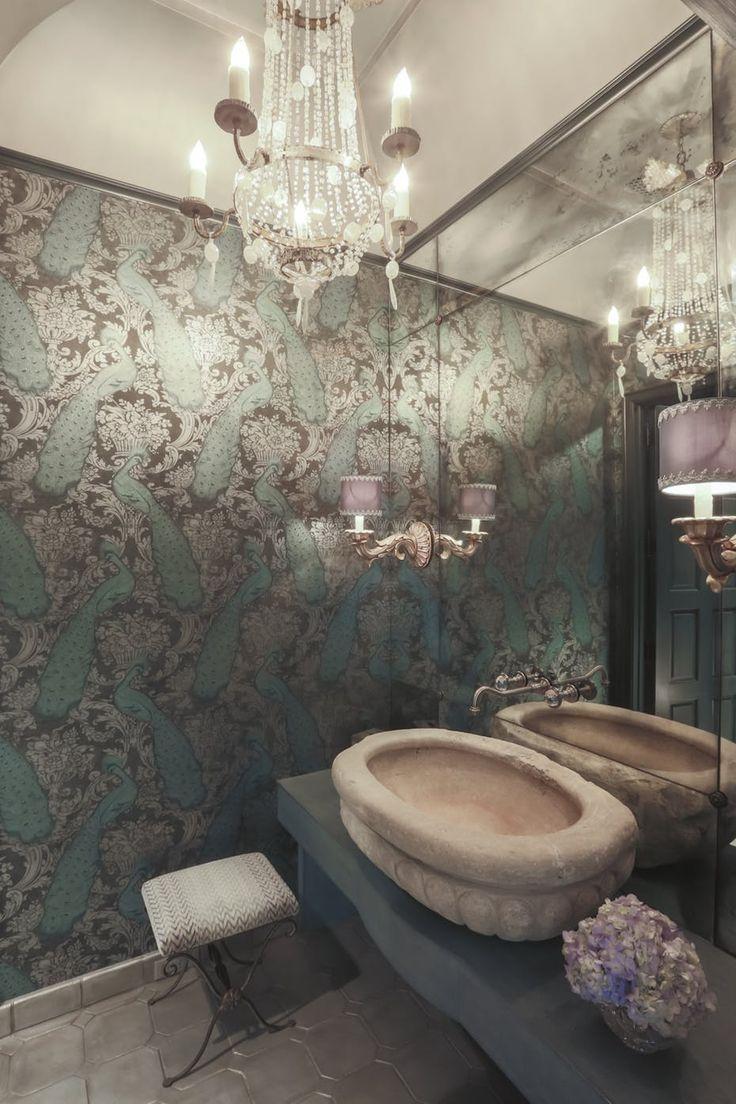 Formal powder reclaimed stone sink, metallic wallpaper