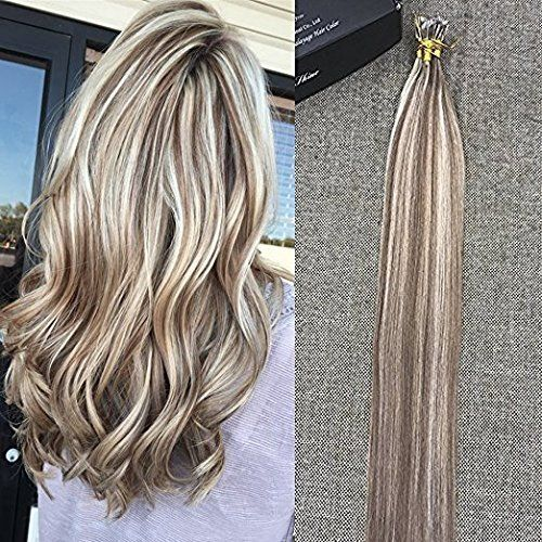 Full Shine 22 inch 50 Strand Per Pack 0.8g Per Strand Nano Bead Hair Extensions Ombre Highlight Color #10 and #613 Remy Pre bonded Hair Extensions
