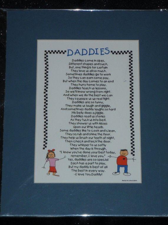 Daddies Poem by marilynscreations2 on Etsy