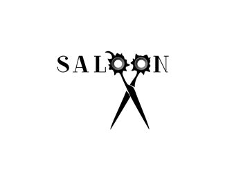 saloon Logo design - You can see two bullet holes in scissors with western style.<br /> Price $500.00