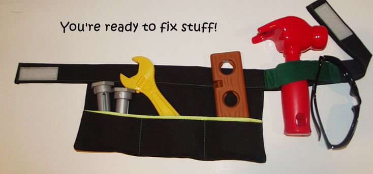 diy kids tool belt. Velcro. Double layer of pockets, deeper at the back might be good