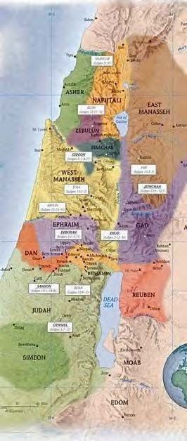 Map of the Holy Land in Old Testament times when the 12 tribes of Israel settles there following the Exodus.