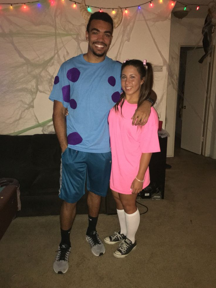 Homemade sully and boo costume for Halloween. #CollegeStudentFunds #Broke CollegeStudent