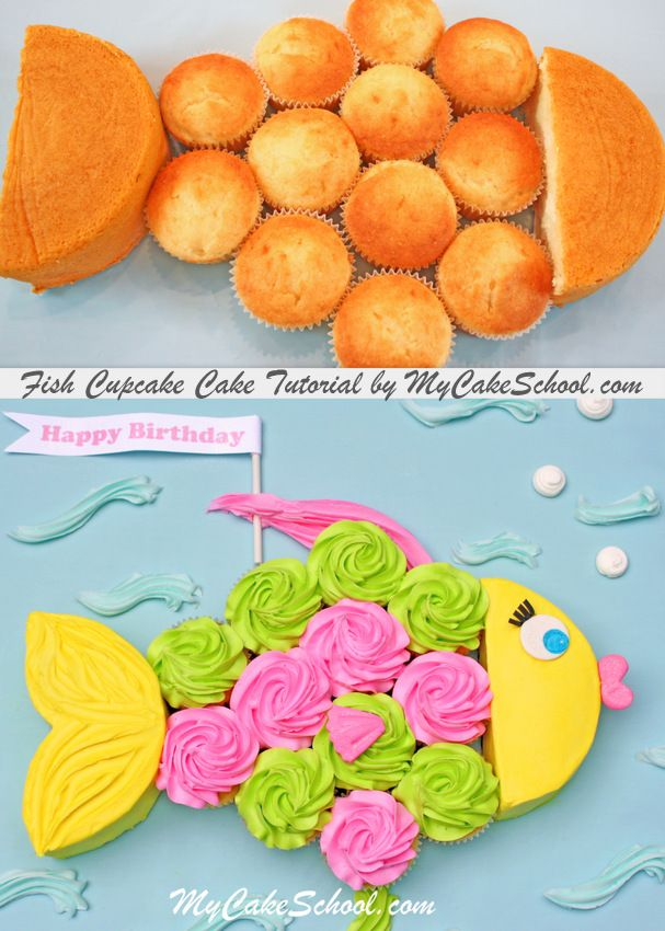 Adorable cake decorating tutorial for a fish cupcake cake! Perfect for kids parties. Free blog tutorial!