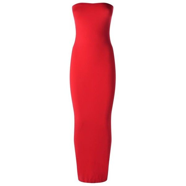 Wolford Fatal Strapless Dress ($150) ❤ liked on Polyvore featuring dresses, red strapless dress, red dress, stretchy dresses, red stretch dress and stretch dresses